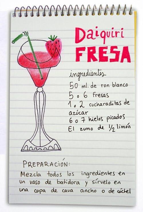^^ Daiquiri fresa: cóctel con ron :)