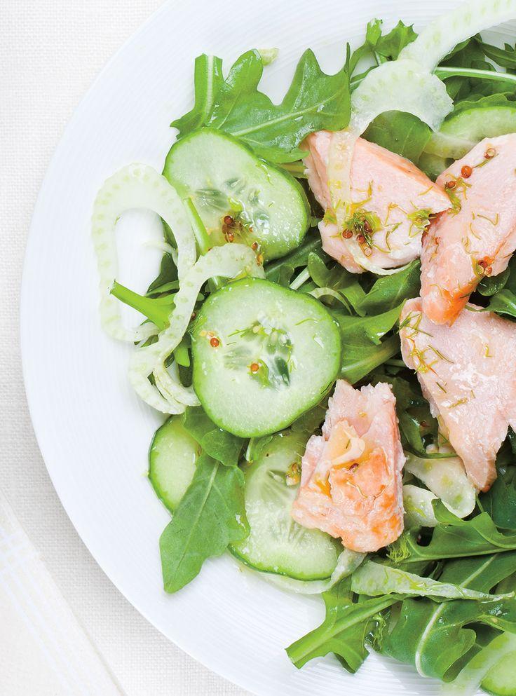 Recette de Ricardo de Sslade de saumon froid, concombre et fenouil à l'aneth
