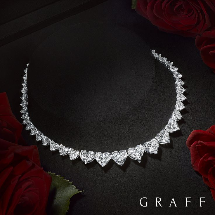 Inspired by the universal symbol of love, Graff's design team has incorporated a selection of rare heart shape diamonds within this beautiful unique necklace. Graff's highly skilled Master Craftsmen ensured the finest diamonds are embraced by a minimal setting, each amplified by light, allowing the natural beauty of the stone to dramatically radiate. #GraffDiamonds #DiamondNecklace #ValentinesDay #Love