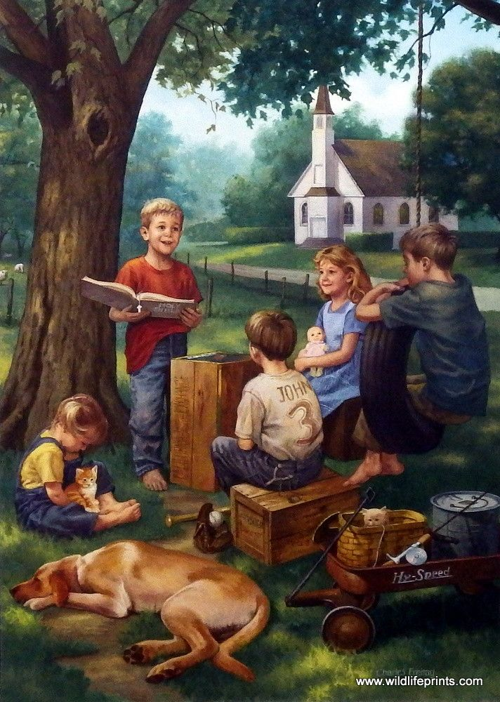 Artist Charles Freitag Unframed Children's Print The Bible Tells Me So | WildlifePrints.com