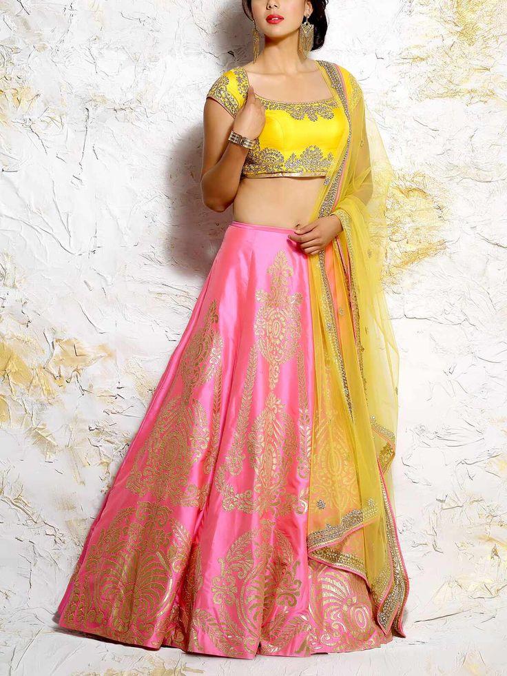 JIYA Pink Silk Embroidered Lehenga