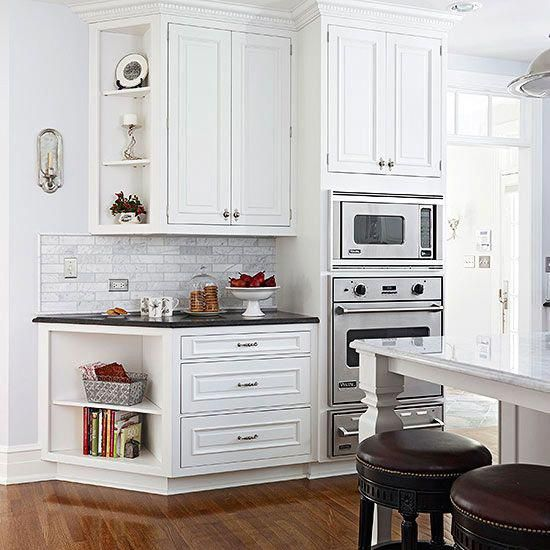 angled end of the wall cabinets guild people towards the door | Kitchen remodel layout, Kitchen ...