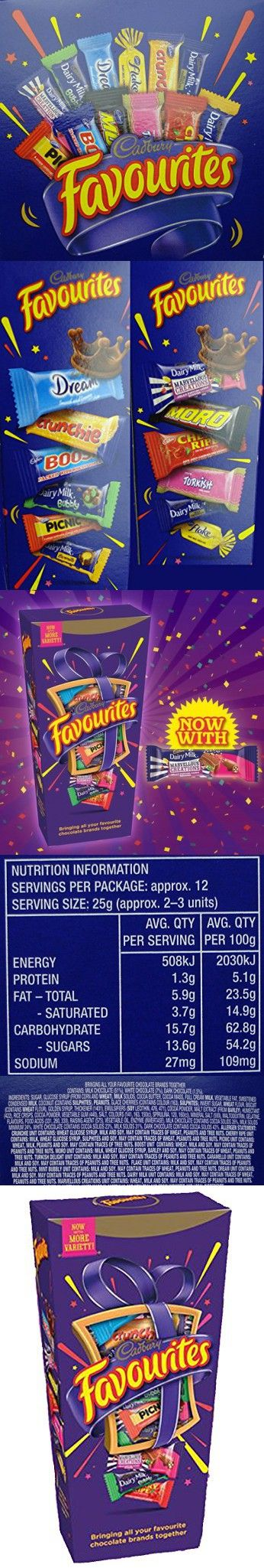 Cadbury Favourites Chocolate Variety 320gm (11.3oz) Gift Box - Dream, Crunchie, Boost, Dairy Milk, Picnic, Caramello, Marvelous Creations, Moro, Cherry Ripe, Turkish Delight, Flake