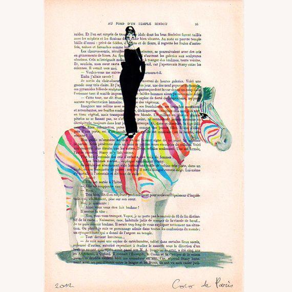 Pintura acrílica - Audrey Hepburn on rainbow zebra - hecho a mano por CocoDeParis en DaWanda