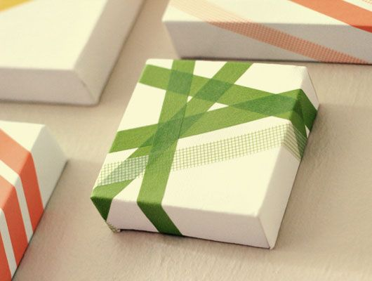 Christmas Gift Wrapping Art With Colored Tape - So pretty! DIY Holiday Project.: Gift Wrapping, Tape Art, Wrapping Ideas, Packaging Idea, Washi Tape, Washitape, Christmas Gift, Masking Tape
