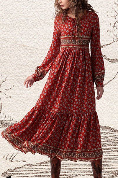 Tiny Floral Print Long Sleeve Maxi Dress DARK RED: Bohemian Dresses | ZAFUL