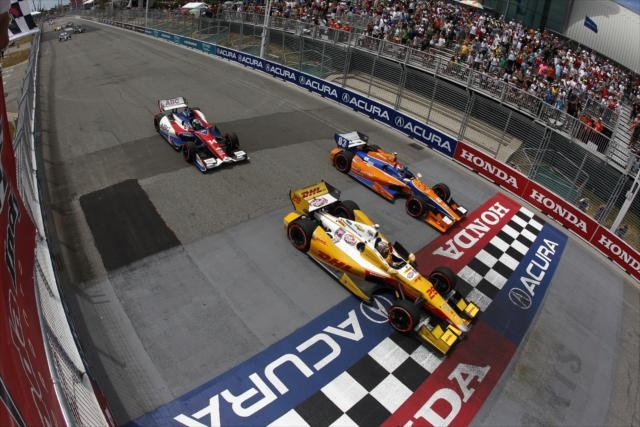 Ryan Hunter-Reay, Charlie Kimball, Mike Conway cross the finish line. NovoLog Flex Pen car just not quite enough to win, shoot!