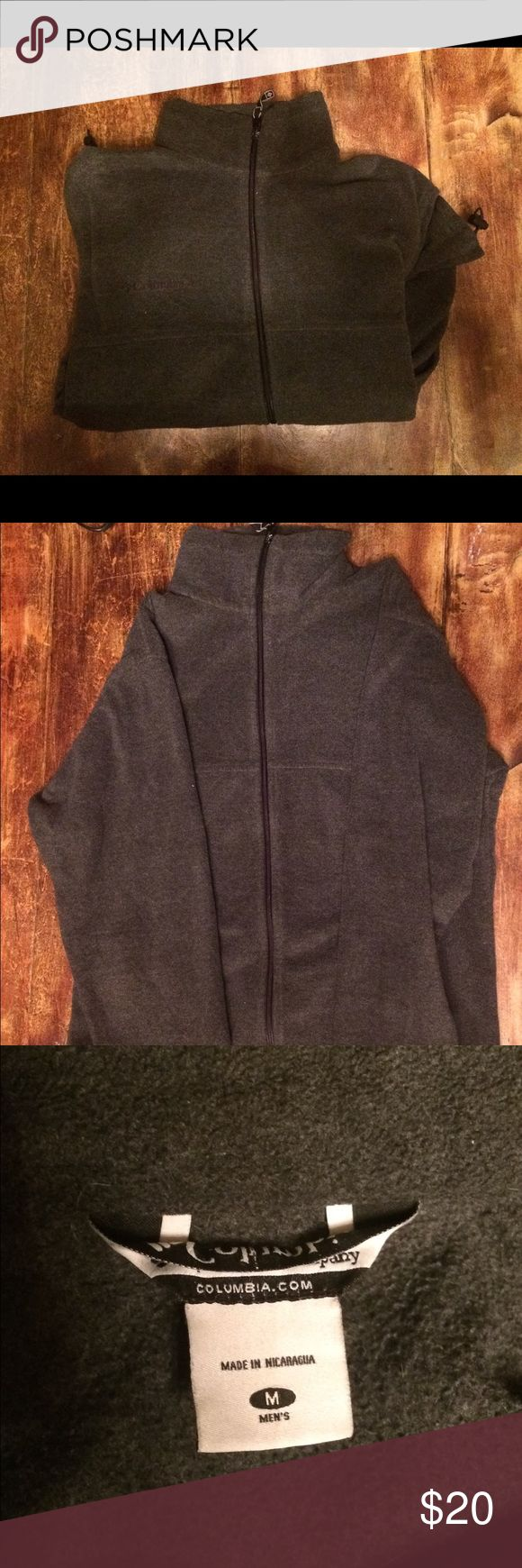 Mens Columbia grey fleece in medium Good shape. No stains or tears.  Definitely some pilling from age. It's a medium but I usually wear a large.  If you're a large Marmot, Patagonia, etc you might wear this medium. Columbia Jackets & Coats Performance Jackets