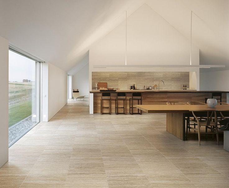 Modern kitchen with warm shades of classic Travertine design #kitchen, #travertinetiles, #walltiles, #CaesarTale, #CaesarLife