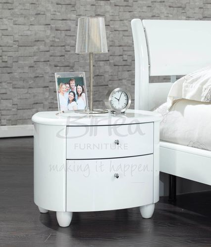 Aztec High Gloss White Bedside Table / Nightstand eBay