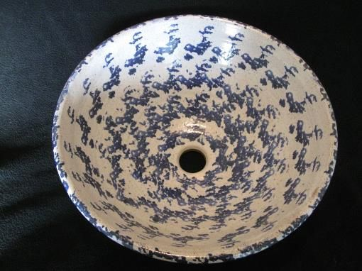 768 15 Inches In Diameter X 6 Inches High Beautiful Antique Blue Sponge  Ware Vessel Sink