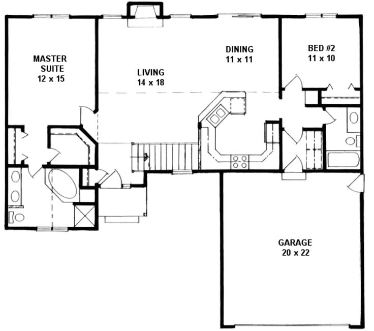 Ranch Style House Plan 2 Beds 2 Baths 1218 Sq Ft Plan