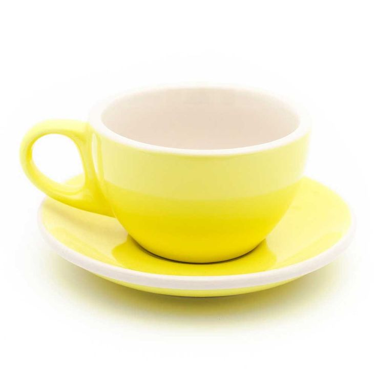 6oz Cappuccino Cups W/ Saucers Yellow U0026 White Cafe Style   Set Of 6 Photo Gallery