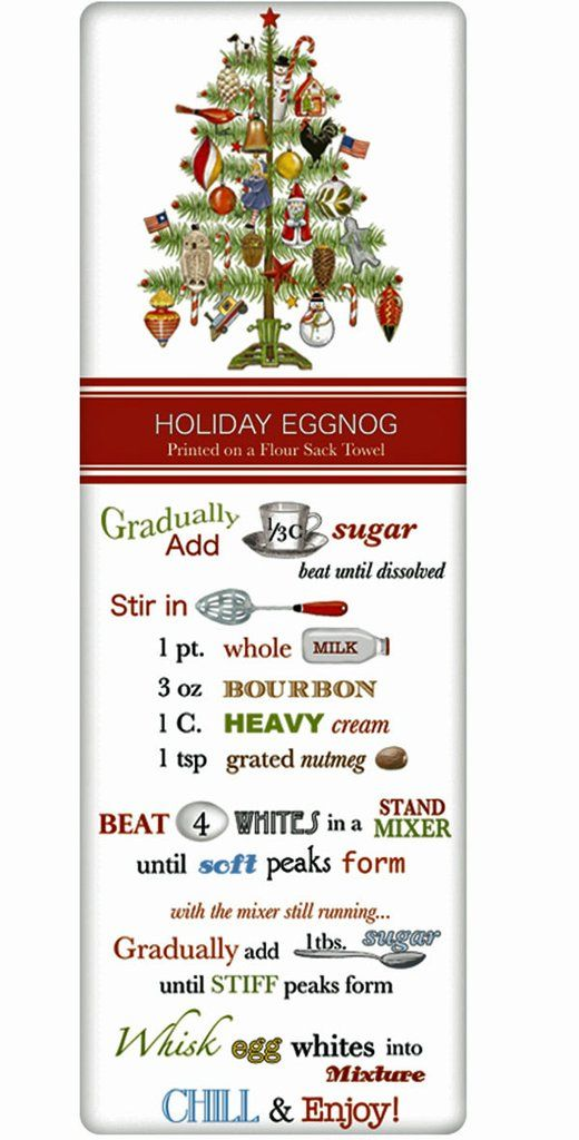 Classic Holiday Eggnog Recipe 100% Cotton Flour Sack Dish Towel Tea Towel