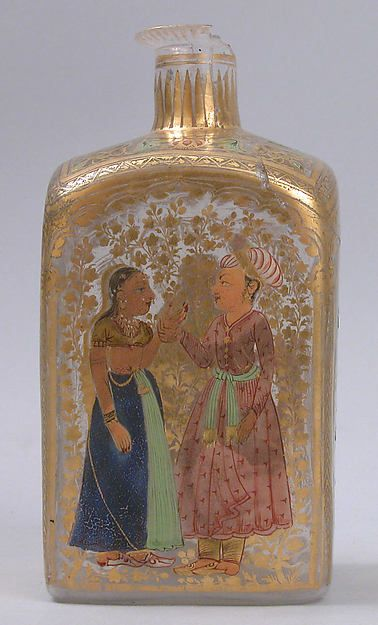 Case Bottle with an Amorous Couple and a Lady with a Deer, first half 18th century. Indian. The Metropolitan Museum of Art, New York. Rogers Fund, 1921 (21.26.11)
