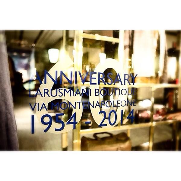The 60th Anniversary of Larusmiani Boutique, opened on #viamontenapoleone in 1954.  #celebrating #finetailoring #since1922 #trueluxury