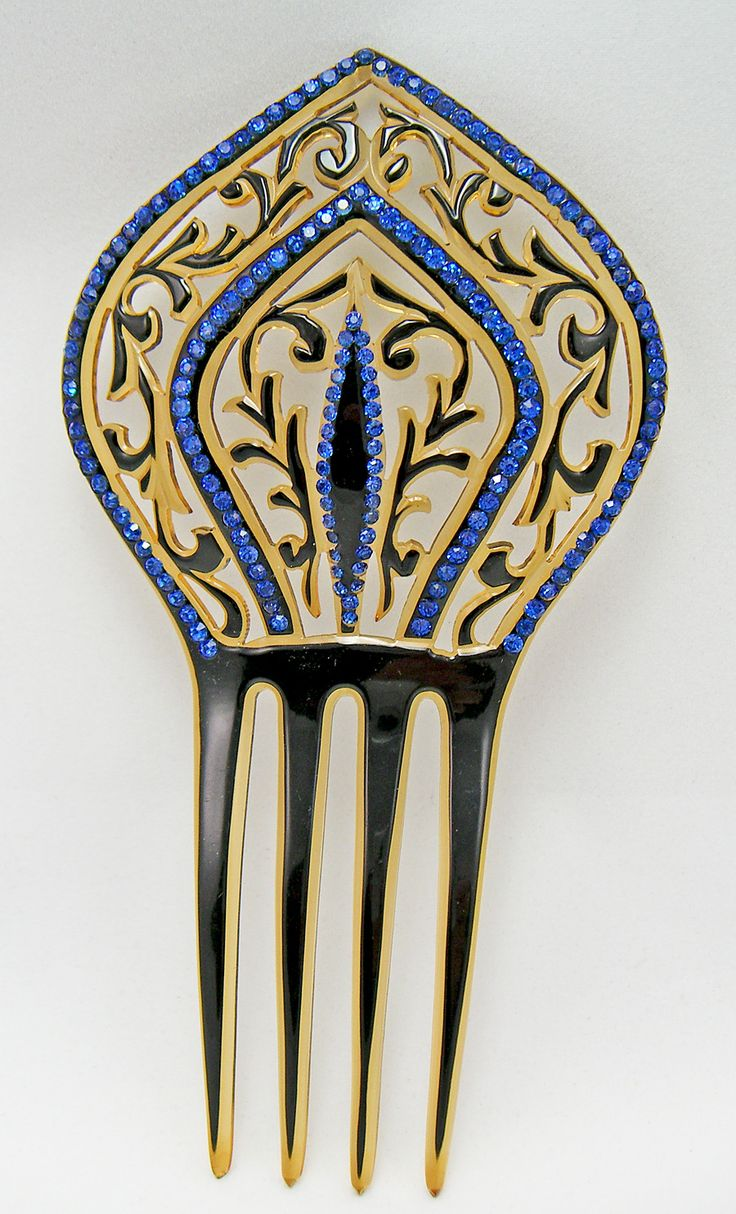 Art Deco Hair Comb with Blue Rhinestones