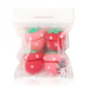 """ETUDE HOUSE Bigoudis fraise """"Strawberry sponge rollers"""" 4 unités"""