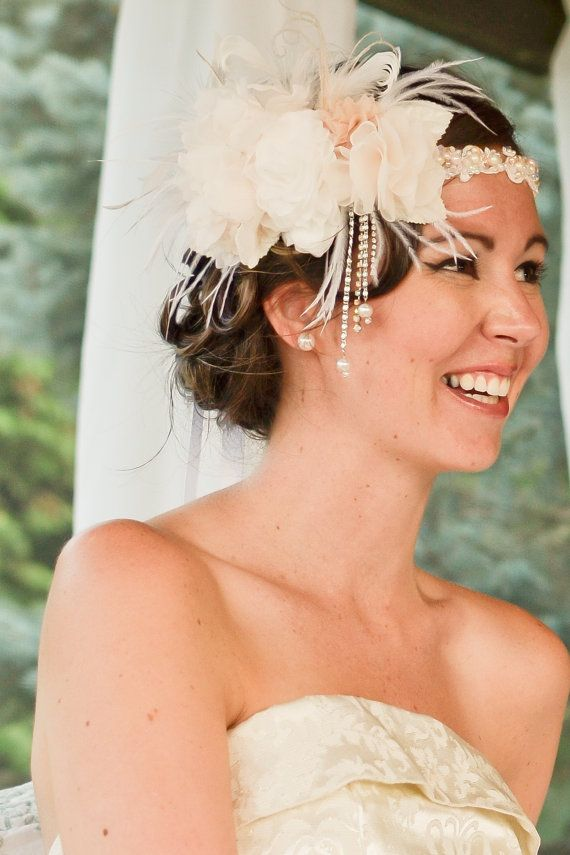 Hand Beaded Peach and Ivory Flower Headband with Drop Pearls and Rhinestone Accents