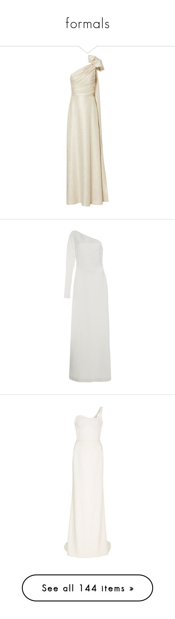 """""""formals"""" by joslinb ❤ liked on Polyvore featuring dresses, gowns, metallic, white ball gowns, one shoulder evening dresses, white one shoulder gown, metallic evening gowns, white evening gowns, white and white long sleeve dress"""