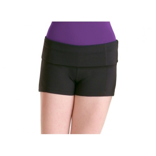 Bloch Waffle Shorts  Ladies' short with rollover waistband.  fabric: microlux 88% nylon, 12% spandex  Colors:Black  Price: 18.60€