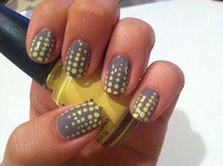 Grey and yellow nails