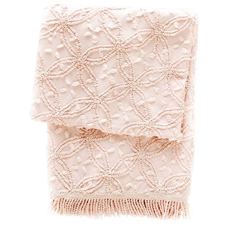 Pine Cone Hill Candlewick Pale Rose Throw Blanket @LaylaGrayce #laylagrayce #suryarugs