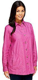 Joan Rivers Classics Collection Joan Rivers Regular Denim Boyfriend Shirt with Long Sleeves