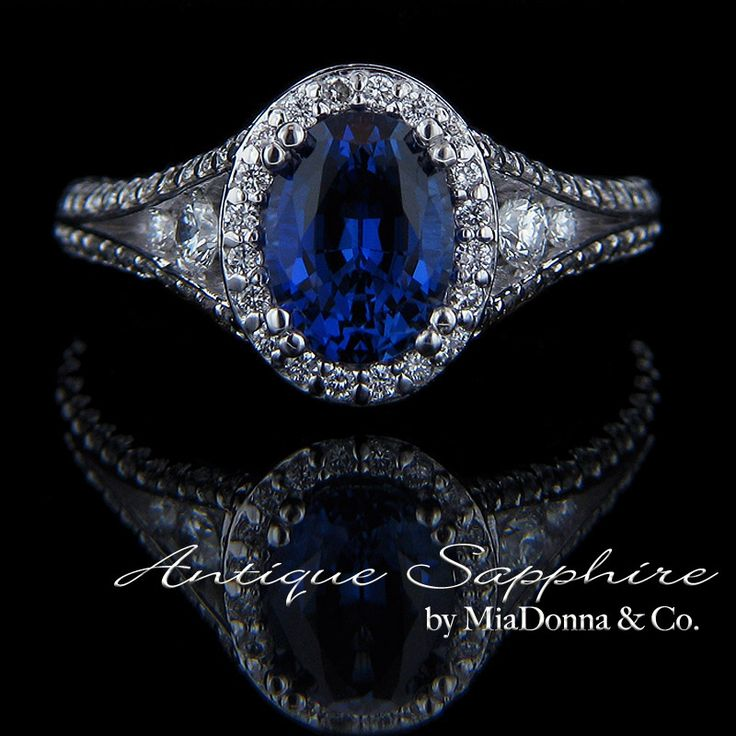 antique-blue-sapphire-engagement-rings-miadonna  OOoh antique. pretty cut, great color, nice band.