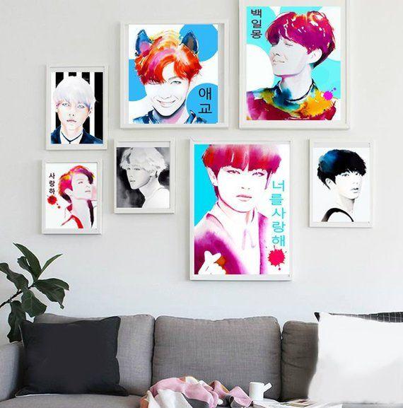 K Pop Set Of 7 Fine Art Prints Unique Colorful Kpop Gift For Fangirls Aegyo Korean Idols Hd Anime Wallpapers Anime Wallpaper Wallpaper