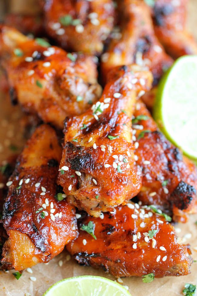 These wings are perfect game day food with an amazing combination of sweetness and spiciness in every bite, and they're baked to absolute crisp perfection!  . Click the link to view the recipe :)