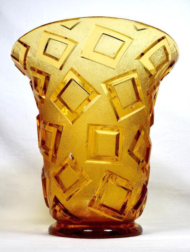 Art Deco Czech Glass Vase 1930s Libochovice – Rare Design | eBay