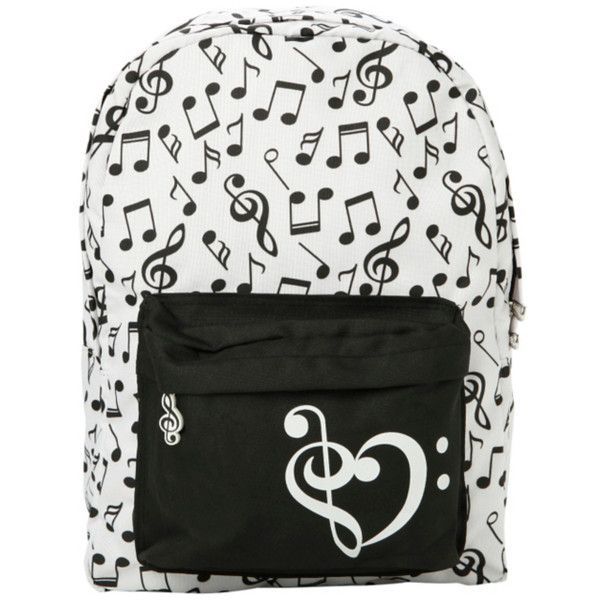 Black & White Music Note Backpack | Hot Topic (£12) ❤ liked on Polyvore featuring bags, backpacks, black white bag, strap backpack, padded bag, black and white backpack and pattern backpack