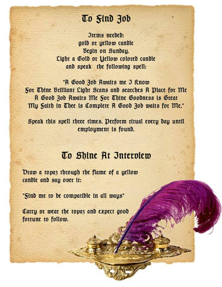 Job spells Wiccan Spells Pinterest Book of shadows