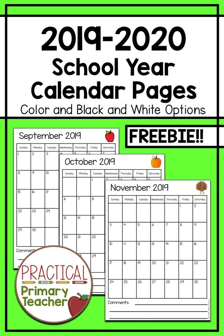 2019 2020 Calendars Free School Calendar Printables Teacher
