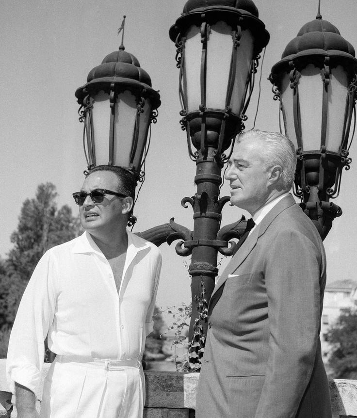 Dino De Laurentiis - Vittorio De Sica (Venezia, 1961) #VittorioDeSica #DeSica #director #actor #neorealism #italian #neorealismo #cinema #movie