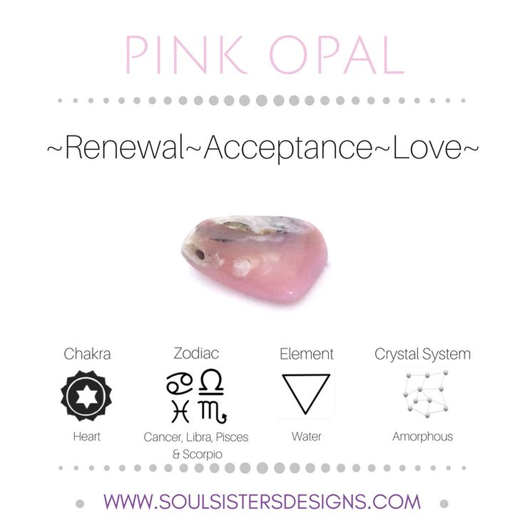 Metaphysical Healing Properties of Pink Opal, including associated Chakra, Zodiac and Element, along with Crystal System/Lattice to assist you in setting up a Crystal Grid. Go to https:/wwwsoulsistersdesigns.com to learn more!