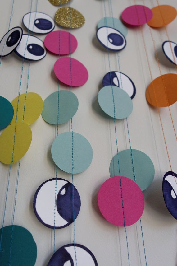 Monster Party Garland-Birthday-Baby by ScreamNSnuggle on Etsy