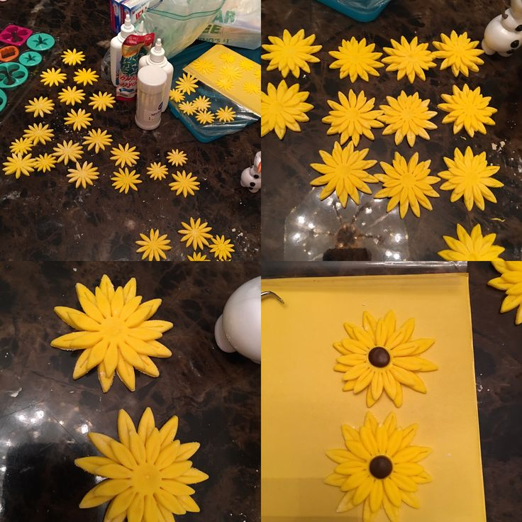 Fondant sunflowers for Frozen fever cake