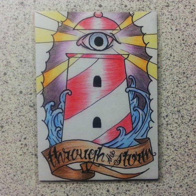 Hand-drawnd and colored lighthouse ATC, one of my own favorites ^___^