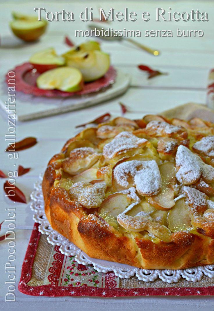 Torta di mele e ricotta morbidissima senza burro DolcePocoDolce