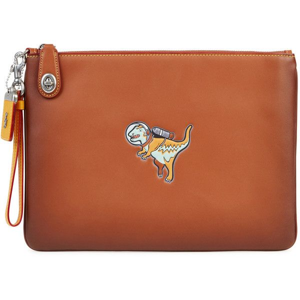 Coach Space Dinosaur Leather Pouch (800 TND) ❤ liked on Polyvore featuring bags, handbags, clutches, zipper pouch, leather handbags, leather clutches, coach clutches and brown leather handbags