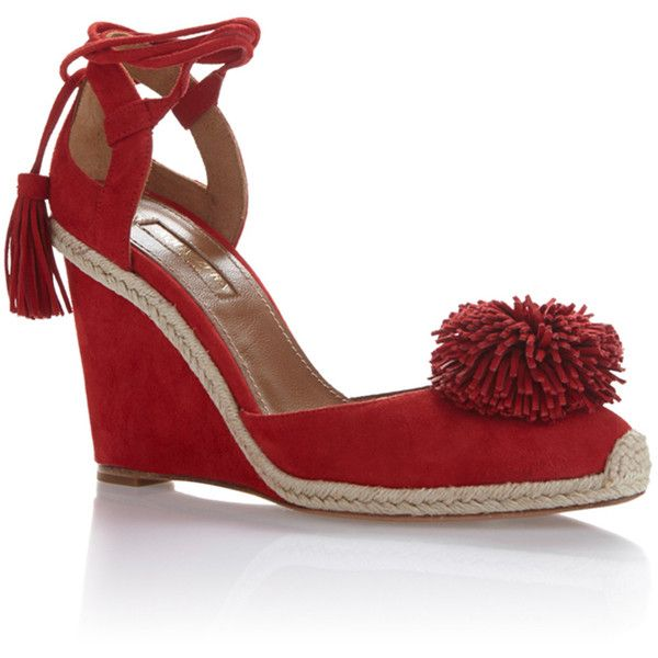 Aquazzura Sunshine Wedged Espadrille (€275) ❤ liked on Polyvore featuring shoes, sandals, red, wedge espadrilles, red shoes, espadrille wedge sandals, red espadrille shoes and red wedge heel shoes