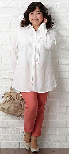 カットソーシャツチュニック+ハイテンション九分丈パンツ(ゆったりヒップ)+シンプルパンプス(制菌消臭中敷)(ワイズ4E)