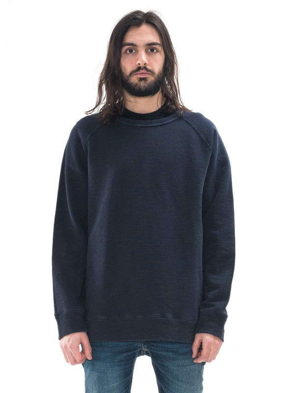 Diego overdyed loose fit organic cotton sweatshirt in navy - Nudie Jeans.