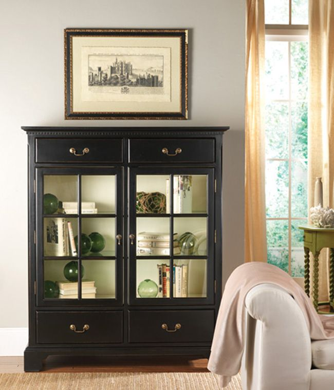 "The Hatteras China Cabinet, shown here in elegant Black Forest with a Cotton Candy interior measures w 49 "" h 58.25 "" d 19.25 "". The insert shows the piece in Cocoa with a Vanilla Bean interior. With a collection inspired by some of the most impressive coastal locales – Nantucket, Newport, Carmel, Bar Harbor, to name a few – you can expect an equally impressive product. Somerset Bay raises the standard in design and construction. Each piece is handcrafted from the finest plantation grown…"