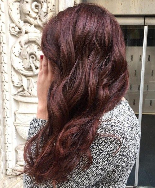 Deep Chocolate Auburn wavy burgundy hair