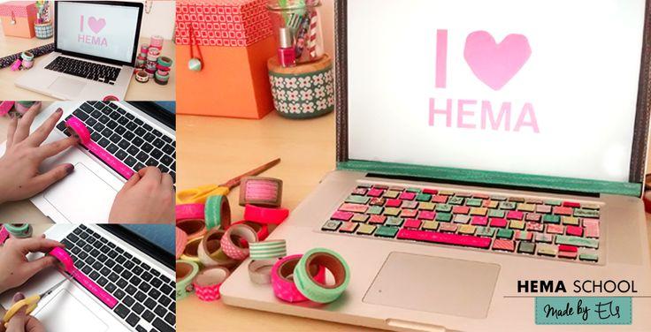 Je laptop opfleuren doe je natuurlijk met washitape. Bij HEMA verkrijgbaar in alle kleuren van de regenboog. Plak het tape op een toets van het toetsenbord en knip het op maat af. Ook zo creatief? Laat jouw creaties zien op http://www.hema.nl/schoolactie
