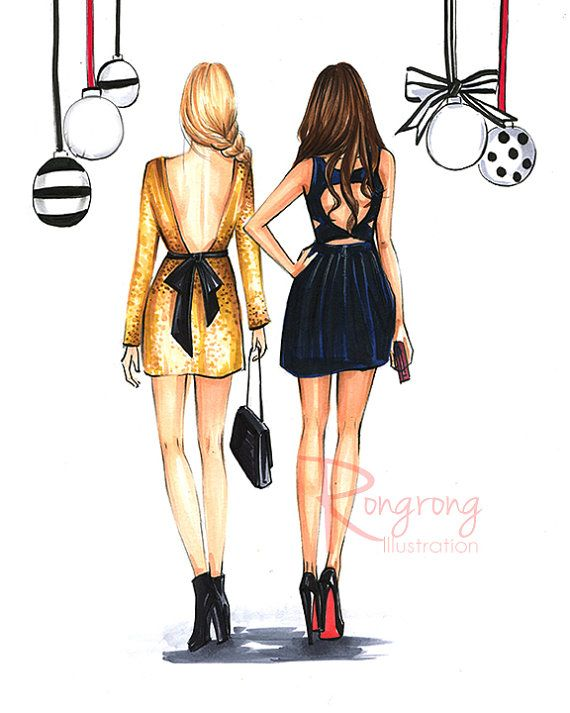 Best friend Fashion illustration by RongrongIllustration, more fun fashion sketches at www.rongrongillustration.etsy.com