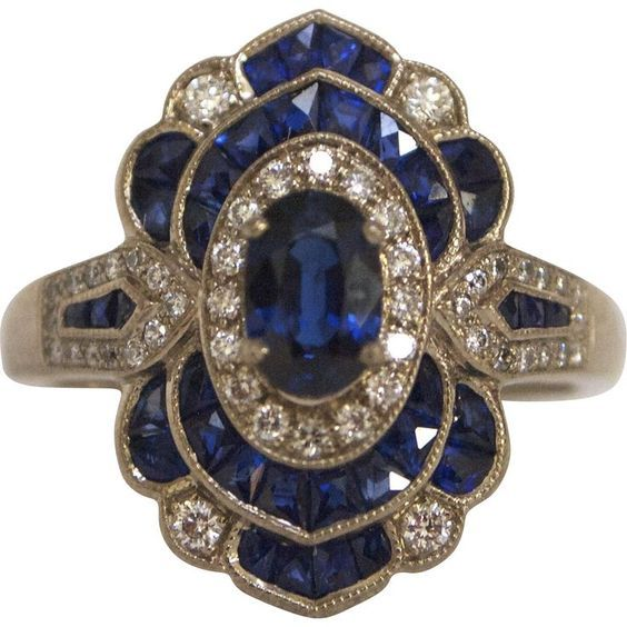 Art Deco 18k White Gold French Cut Deep Blue Sapphire & Diamond Ring: